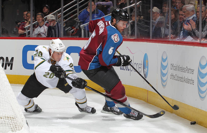 HOLD DOWN THE BLUE LINE - The defensive corps has played stellar thus far for the Avs behind 7-year defenseman Erik Johnson. [Photo Courtesy of ColoradoAvalanche.com]